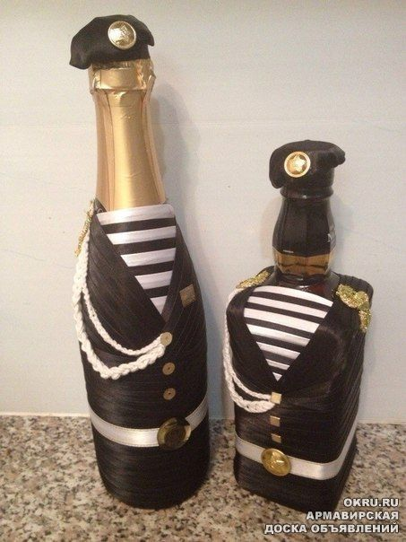 Декор бутылок 23 февраля